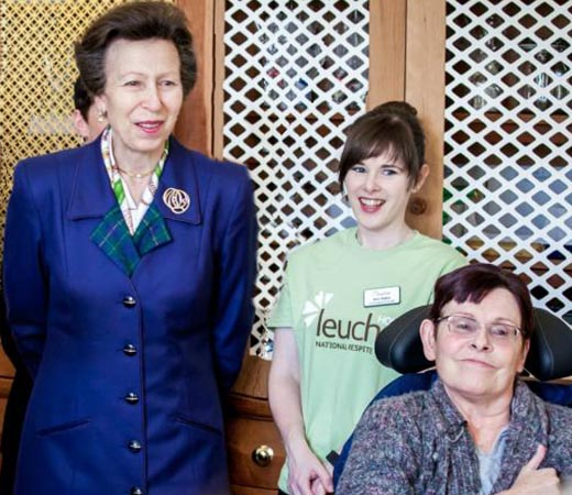 HRH Princess Anne meeting users of Leuchie House.